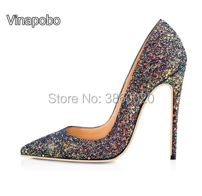Vinapobo bling bling wedding shoes Gradient high heel pumps very sexy  Glitter stiletto heels party shoes 56bce439e38b