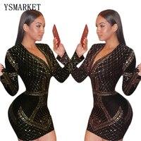 2017 New Wrapped V-neck fall dress hot drilling evening celebrity winter dress runway long sleeved velvet blazer dress