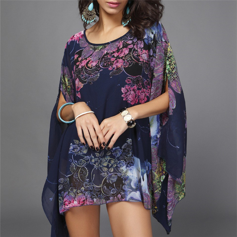 New Arrivals Beach Cover up Floral Romantic Swimwear Ladies Pareo Beach Cape Sun Bath Beach Wear Dress Chiffon Swimwear Praia
