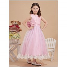 Free shipping Pink Pretty Flower Girls' Dresses A Line Capped Tea Length Sleeveless Bow Zipper Flower Girls' Gowns