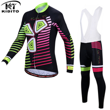 KIDITOKT 2019 Women Winter Thermal Pro Cycling Jersey Set Keep Warm Cycling MTB Bicycle Clothing Mountain Bike Cycling Clothes