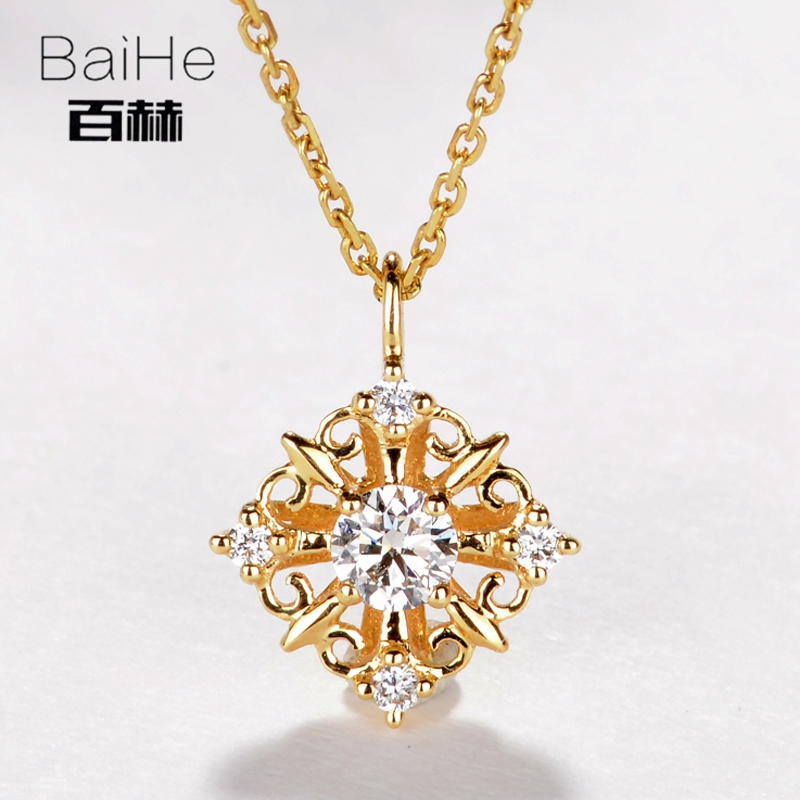 BAIHE Solid 14K Yellow Gold 0.15ct Certified H/SI 100% Genuine Natural Diamonds Women Trendy Fine Jewelry Elegant gift Necklaces цена