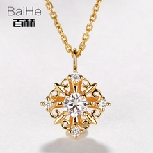 BAIHE Solid 14K Yellow Gold 0.15ct Certified H/SI 100% Genuine Natural Diamonds Women Trendy Fine Jewelry Elegant gift Necklaces