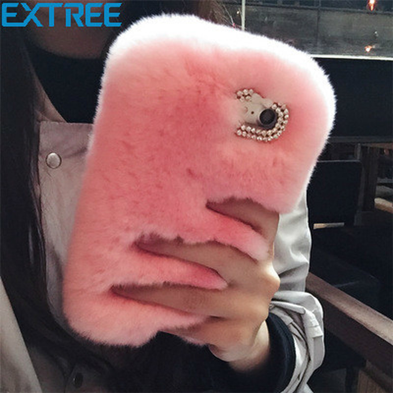 EXTREE Fashion Luxury Rabbit Hair Water Drill Fur Fur Case for iPhoneX 7plus 8 6S Mobile Phone Case Protective Sleeve