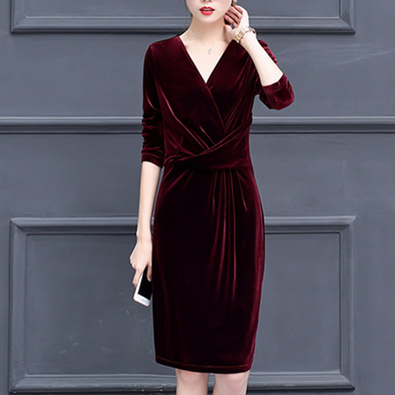 <font><b>Plus</b></font> <font><b>Size</b></font> Fashion Autumn Spring <font><b>Dress</b></font> <font><b>Women</b></font> Elegant <font><b>Sexy</b></font> V-Neck <font><b>Dress</b></font> Vintage Long Sleeve Velvet <font><b>Dresses</b></font> vestidos mujer Robes image