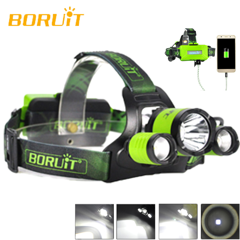 BORUiT B21 High Power GREEN LED Head Torch Lamp Cree XM-L2+2xXPE LED Headlamp Waterproof Night Riding Bicycle Headlight Headlamp cree xml l2 led zoomable headlamp red green blue fishing 4 mode head lamp light torch hunting headlight 18650 battey usb charger