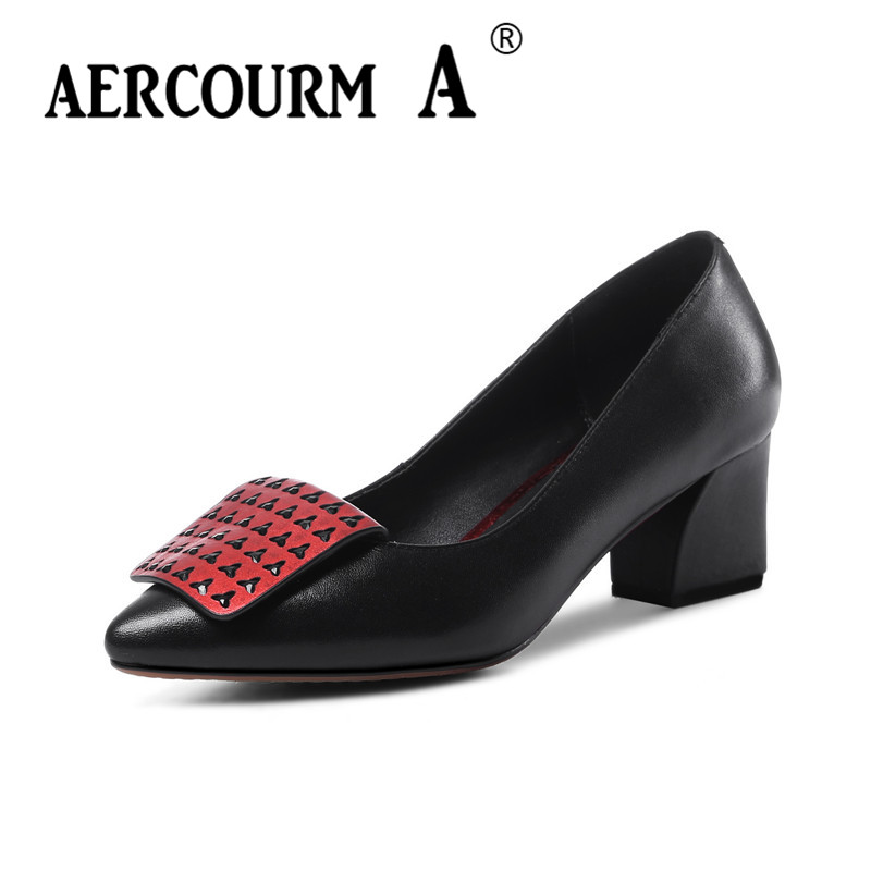 Aercourm A 2018 Spring Girls Genuine Leather Shoes Women Pumps Rivet Shoes Female Square Head Low Heels Casual Red Shoes HYT6031 aercourm a women black pumps 2018 spring high heels shoes woman shoes genuine leather square head rivet pointed shoes dtn8 1