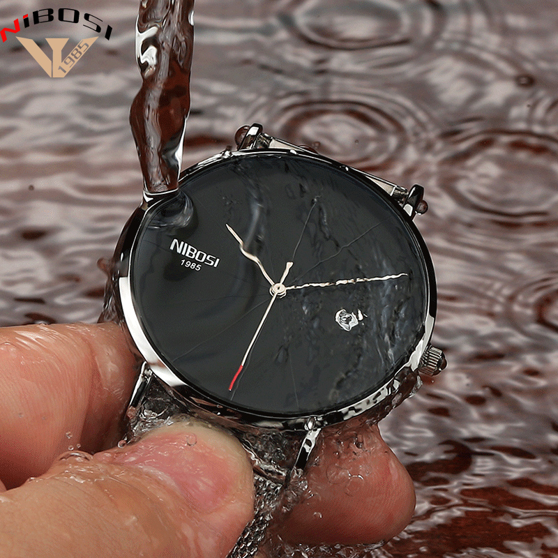 Saat Nibosi Luxury Brand Watches Men Mesh Band Fashion Simple Watch Clock Man Black Ultra Thin Watches For Men Relogio Masculino 2016 new hot ultra thin relojes fashion dress watches steel metal mesh band watch for kids man