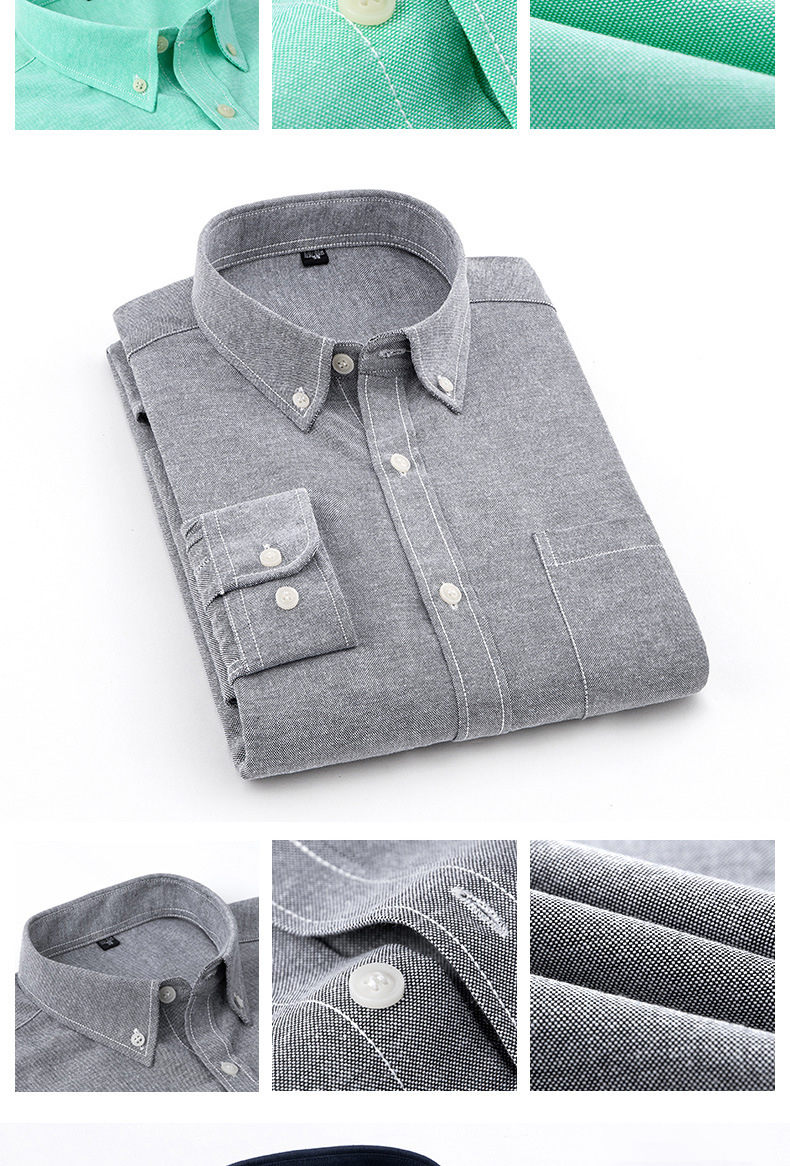 ef8f85736c4d0 ... 8Colors Plain Shirts Men Long Sleeve Casual Autumn Spring Cotton Oxford  Denim Male Shirts Plus size ...