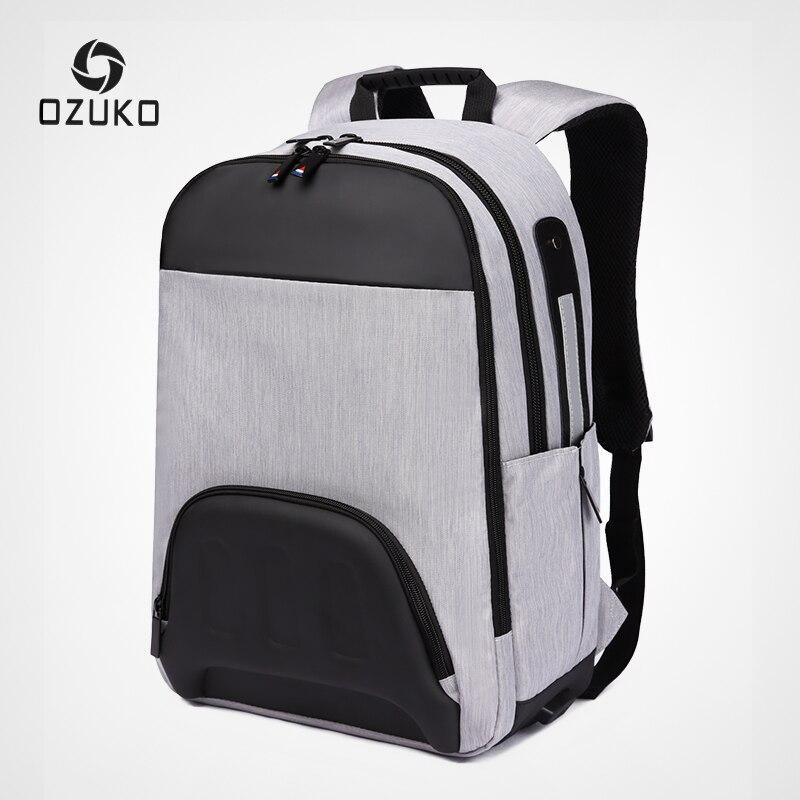 OZUKO homme sac à dos USB charge 15.6 pouces sacs à dos d'ordinateur portable sac d'école pour adolescent mâle voyage Mochila mode Patchwork sac à dos