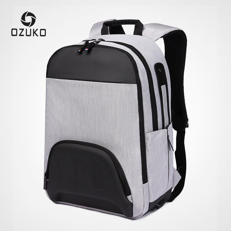 Ozuko homem mochila de carregamento usb 15.6 polegada portátil mochilas saco escolar para adolescente masculino viagem moda retalhos volta pacote