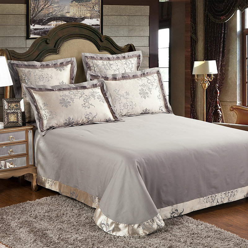 Jogo de cama de luxo King size Rainha 4/Bedsheet42 6 pcs Cama de Cetim de Algodão de Seda set capa de Edredão - 3