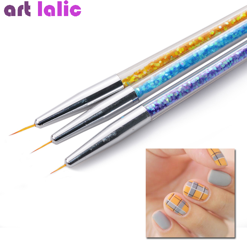 3Pcs Sequins Nail Art Brush Drawing Painting Carving Pen Design Manicure Tools 7/9/11mm Acrylic Liner UV Gel Decoration Tools цена