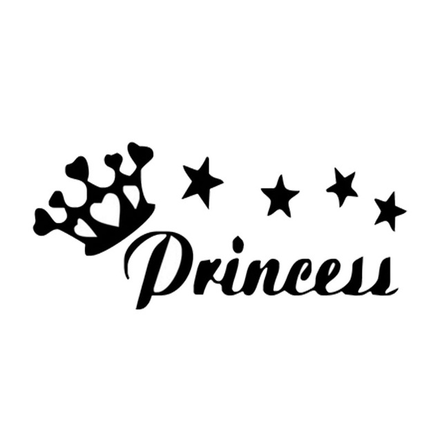 18cm 8cm Creative Fashion Princess Crown Vinyl Car Sticker