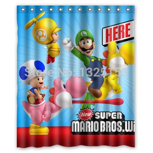 Custom New Fashion Super Mario Bros Wii Nintendo Bathroom Curtain High Quality Shower 60x72 Inch
