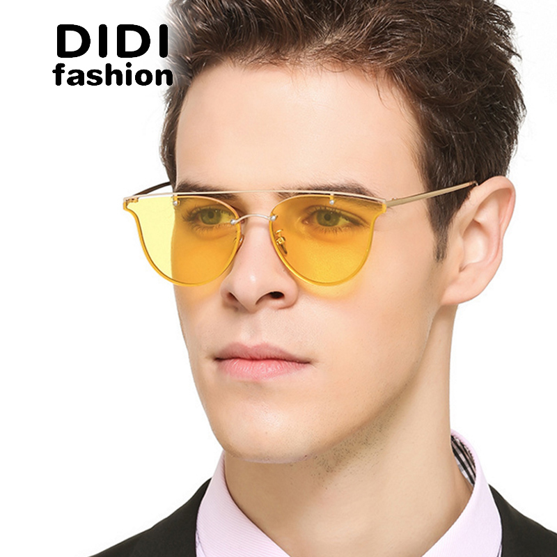 didi 2017 polaroid clear yellow sunglasses men flat lens rimless thin metal frame glasses women top