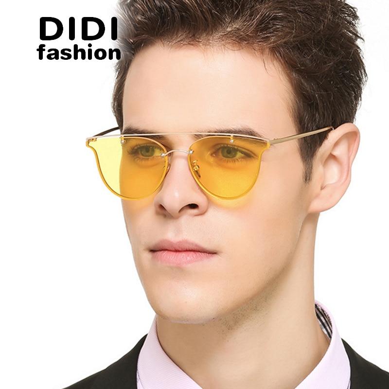 didi 2017 polaroid clear yellow sunglasses men flat lens rimless thin metal frame glasses women top