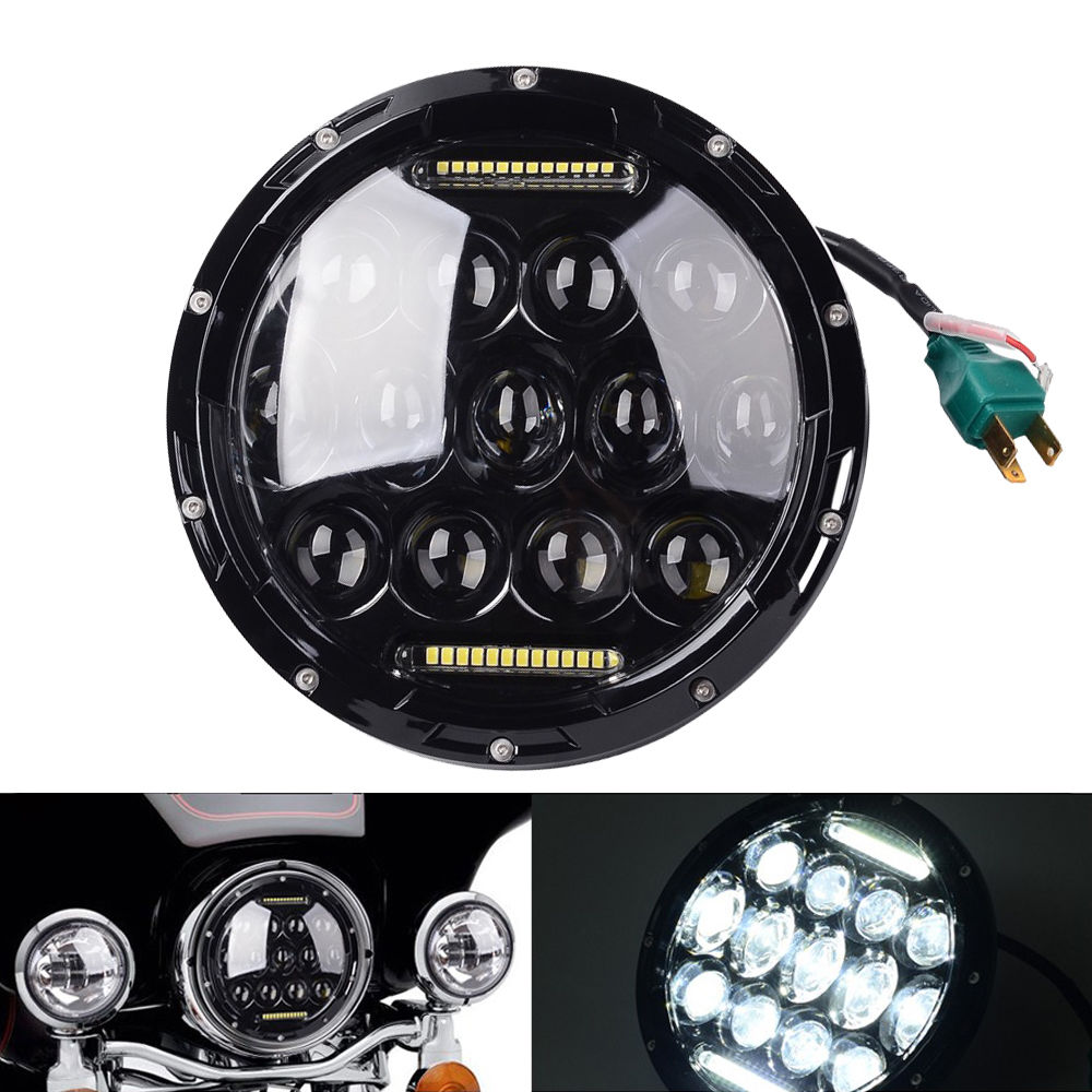 1x 75w 7 headlight Motorcycle black high low beam 7inch Round daymaker led Head light head lamp DRL For Harley Davidson Jeep JK free shipping 7inch round headlight 75w h4 motorcycle round led headlamp daymaker hi low beam head light bulb drl for offroad