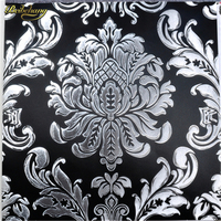 3d WallpaperEuropean Luxurious Glitter Metallic Foil Damask Wallpaper Roll Gold Foil And Silver Foil Choose Home
