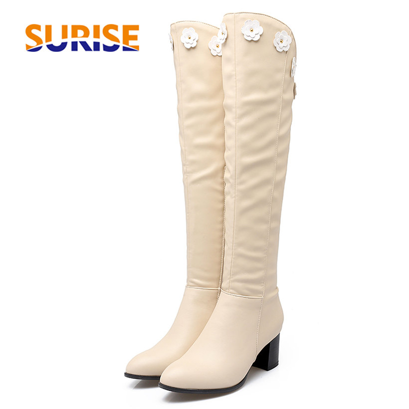 Winter Autumn Women Knee High Boots 5.5cm Square Block High Heel White Flower Plush PU Leather Round Toe Zipper Knight Long Boot women ankle boots pu leather short plush 7cm high thick block heel square toe white zipper winter black casual office lady boots