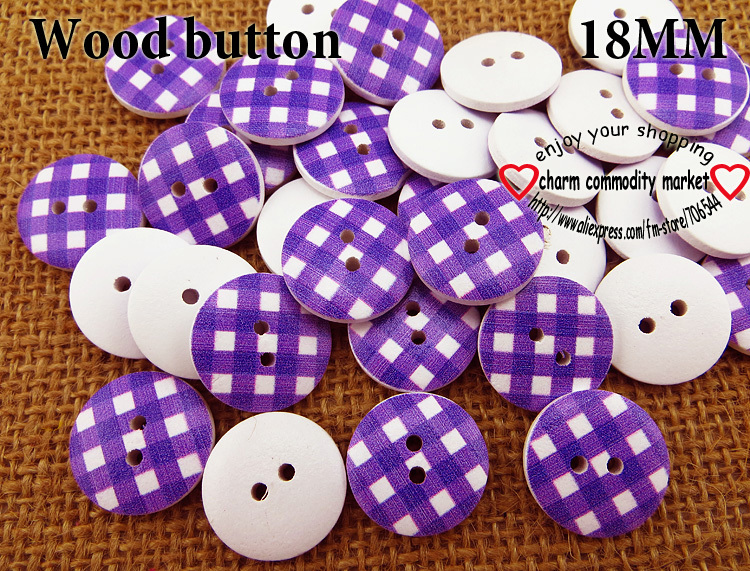 100PCS 18MM Grid purple wooden buttons sewing clothes boots coat accessories MCB-731