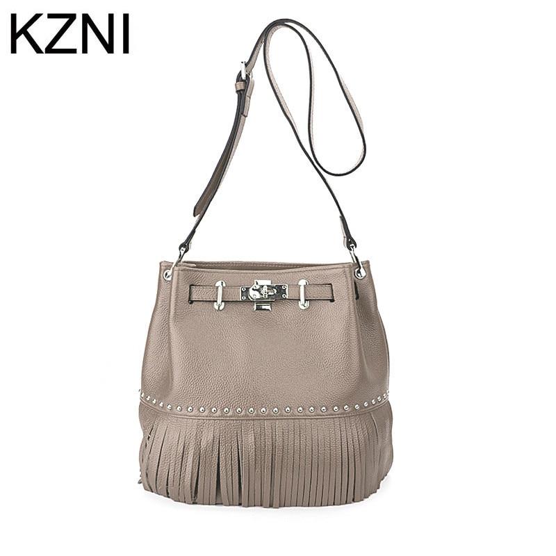 KZNI luxury handbags women bags designer shoulder handbag genuine leather women messenger bags bolsas femininas L121810