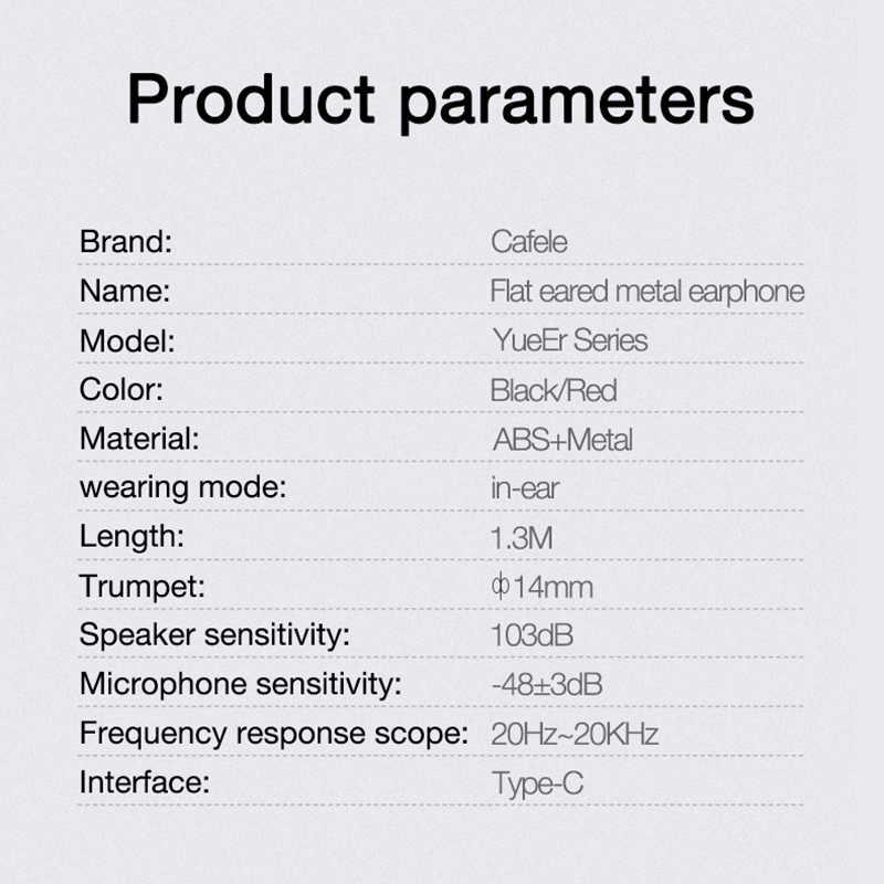 Auriculares Cafele de 3,5mm para Huawei, Samsung, Xiaomi, Shocking 4D, sonido USB, tipo C, auriculares con cable, auriculares estéreo deportivos
