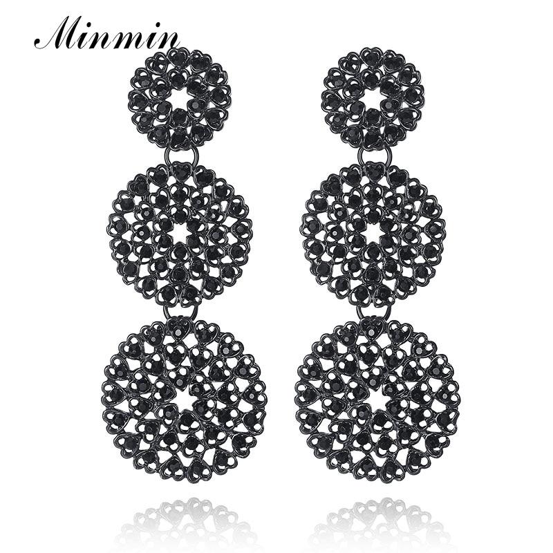 Minmin Eenvoudige ronde geometrische zwarte strass lange oorbellen voor vrouwen Bloemhangers Vintage oorbellen mode-sieraden MEH954
