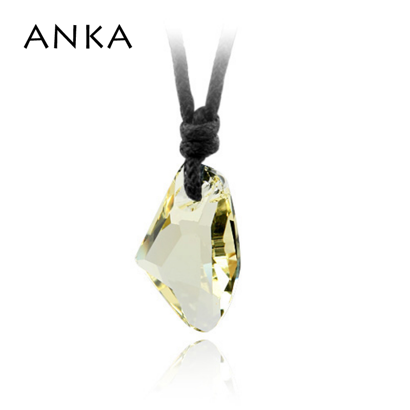 ANKA brand real crystal wishing stone necklace with cotton rope chain 1.8*1.1 CM Crystals from Austria originales #76718 ...