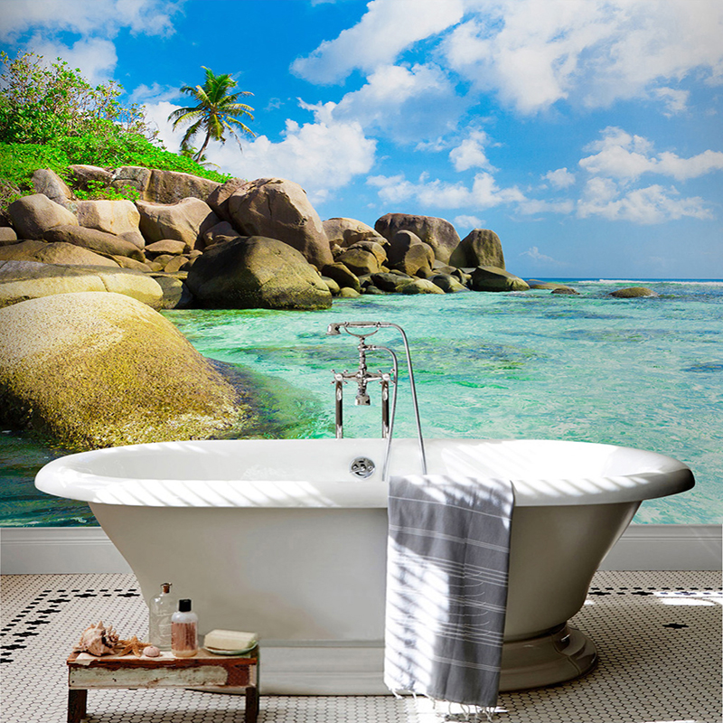 Custom Self-adhesive Bathroom Mural Bathroom Waterproof 3D Wall Paper Sticker Blue Sky Seawater Landscape Backdrop 3D Home Decor