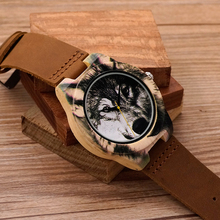 BOBO BIRD J21 Wooden Men Watch 3D Printing Wolf Head Icon Dial Quartz-watch Wood Clock in Gift Box relojes hombre 2016