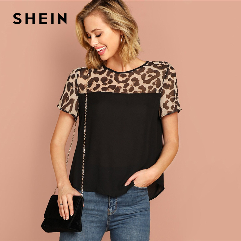 SHEIN Black Keyhole Back Leopard Yoke Top Round Neck Short Sleeve Modern Lady Summer Blouse Women 2019 Streetwear Casual Blouses