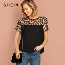 904a7c82e1 SHEIN Black Keyhole Back Leopard Yoke Top Round Neck Short Sleeve Modern  Lady Summer Blouse Women