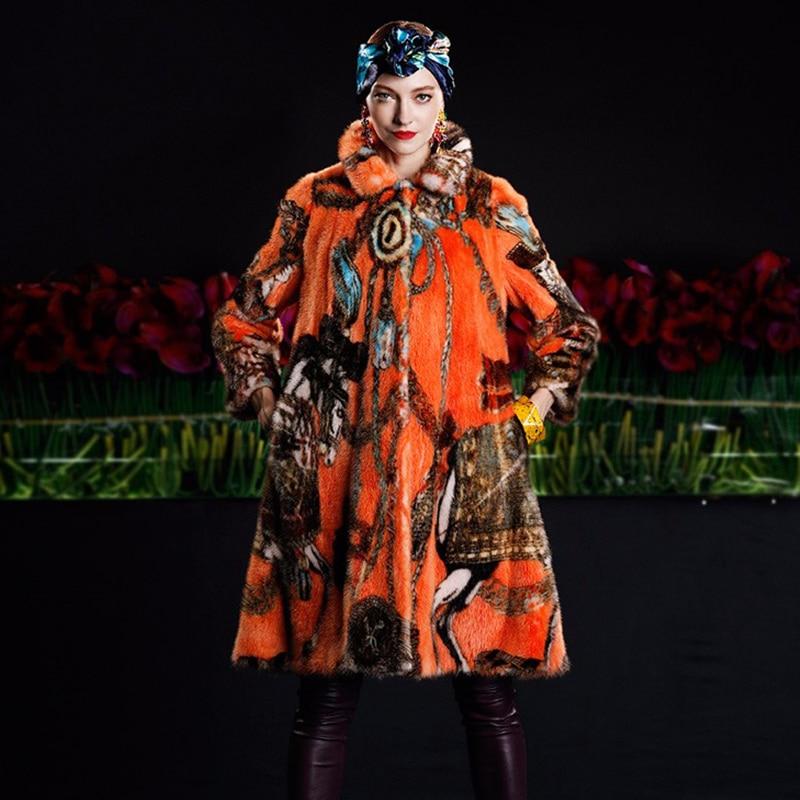 LVCHI kadının Ceket Boho Moda Kadın Soğuk Vizon Ceket Hakiki Asil - Bayan Giyimi - Fotoğraf 4