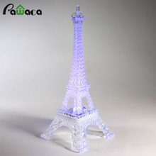 Home Decoration Eiffel Iron Tower Romantic Colorful Light Eiffel Tower Desktop Decor Craft Figurines Christmas Party Decorative(China)