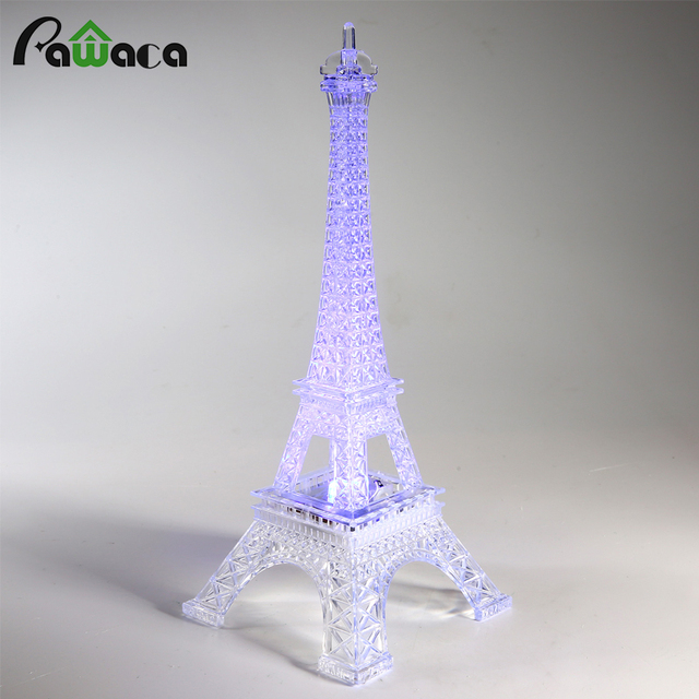 Home Decoration Eiffel Iron Tower Romantic Colorful Light Eiffel Tower  Desktop Decor Craft Figurines Christmas Party
