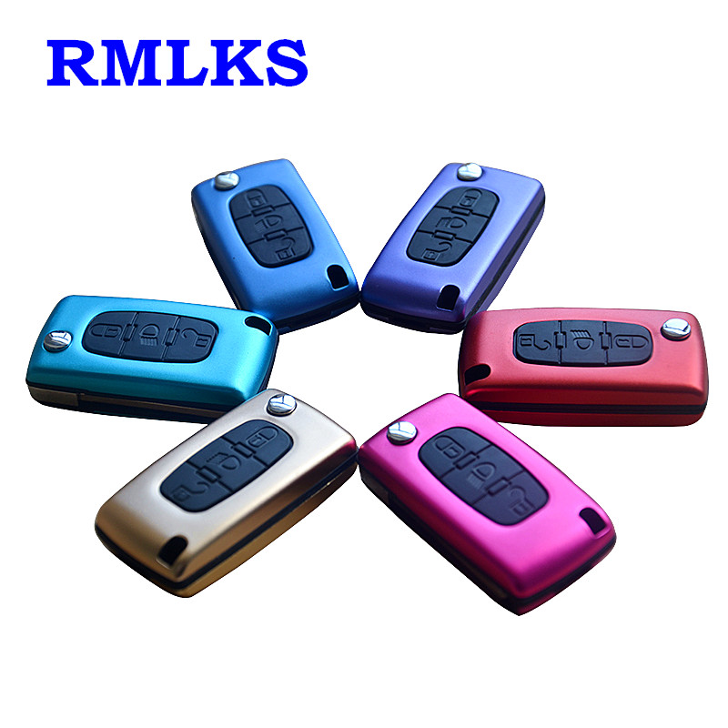 RMLKS Remote Folding Fob Car Key Shell Cover For Citroen C2 C3 C4 C5 C6 C8 CE0523 For Peugeot 407 407 307 308 607 CE0536