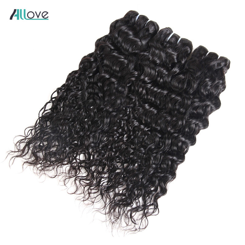 Allove Malaysian Water Wave Hair Bundles 100% Human Hair Weave Bundles Natural Color Double Machine Weft Hair Weaving Non Remy