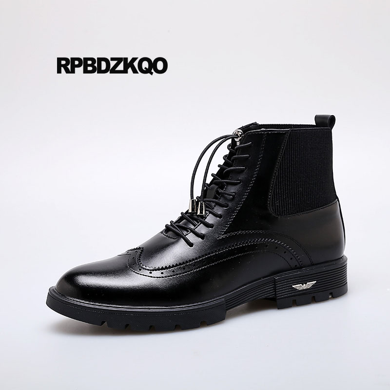2018 Lace Up Chelsea Black Ankle Brogue Booties Party Formal Casual Oxford Business Wingtip Mens Pointed Toe Dress Boots Shoes2018 Lace Up Chelsea Black Ankle Brogue Booties Party Formal Casual Oxford Business Wingtip Mens Pointed Toe Dress Boots Shoes