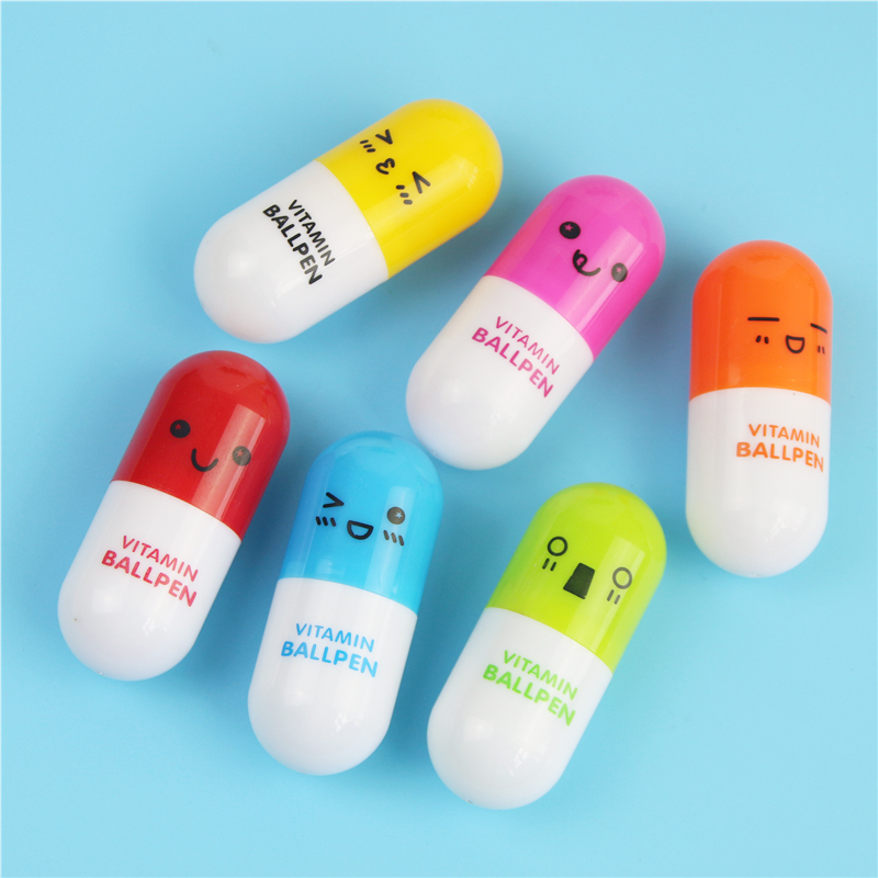 6pcs Cute Smiling Face Pill Ball Point Pen Novelty Stationery Telescopic Vitamin Capsule Ballpen For School Use Without Return Ballpoint Pens