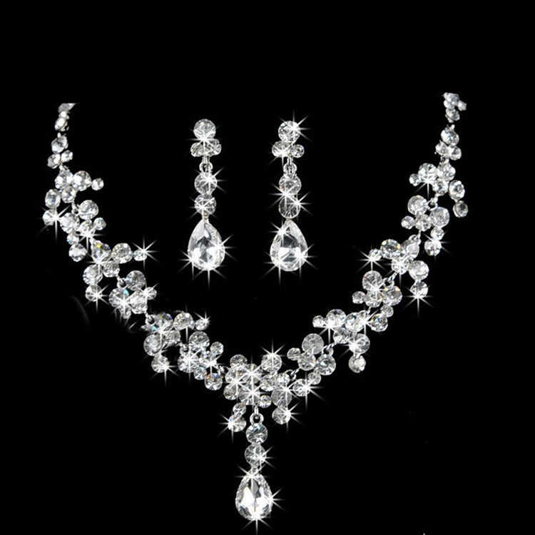 Shining Bridal Jewelry Sets for Women Jewelery Costume Acessories Necklace Earrings with Stones Jewellery Sets 11.11 Sale