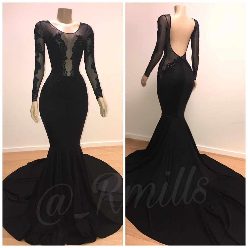 Sexy Long Sleeves Mermaid Black   Prom     Dresses   Long 2019 Lace Applique Backless   Prom   Party   Dresses   Evening Gown