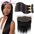 Wonder Beauty Hair Raw Indian Hair Silk Straight 3 Bundles With 13x4 Ear To Ear Lace Frontal Closure Extensiones De Pelo Natural