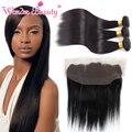 Wonder beauty cabelo raw cabelo indiano reto de seda 3 pacotes com 13x4 de Orelha A Orelha Fechamento de Renda Frontal Extensiones de pelo Naturais