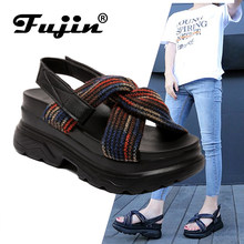 Fujin Platform Sandals Summer 2019 New Fashion Ladies Shoes Hook Loop Sandals Slippers 2 Kinds of Wearing Methods Casual Sandals(China)