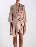 100% Silk satin light pink long sleeve ruffle frill women mini vintage pleated wrap dress with belt