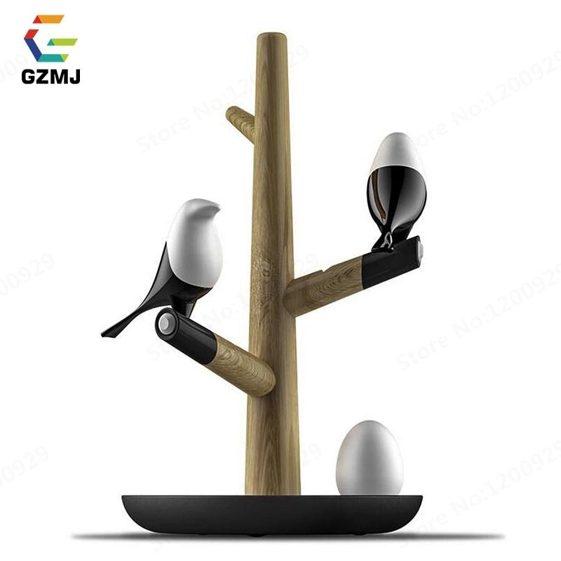 GZMJ In Legno In Stile Cinese HA CONDOTTO LA Uccello Luce di Notte del USB Ricaricabile Sconce Intelligente Sensore di Movimento Da Tavolo Lampada di Notte per la Camera Da Letto