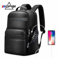 BOPAI capa superior mochilas de piel de vaca hombres viaje de negocios viaje Mochila De Cuero genuino masculino Laptop mochila de lujo