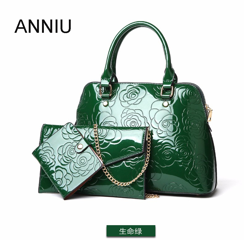 aaea970efd24 ANNIU New Fashion Women Patent leather handbags 3 set designer ladies  Vintage Chinese style 3D Flower print bag Composite Bag