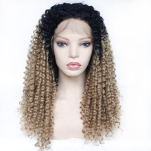 Afro Kinky Curly Wig Synthetic Lace Front Ombre Honey Blonde Wig Glueless Free Part 1B/27 Heat Resistant Fiber Black Women Wig brazilian losse curly synthetic wigs glueless synthetic lace front wig for black women heat resistant lace front wig